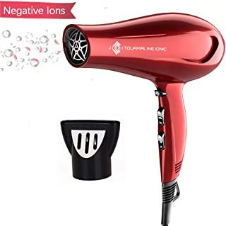 JINRI Hairdryer Negative Ionic Blow Dryer 1875w Professional Salon Light Weight Hairdryer Low Noise with Concentrator Patent Red
