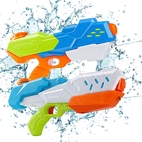 Lehoo Castle Pistola Agua Niños, 2 Pack Pistolas de Agua a Presion Juguete 9m, Juguetes Piscina Niños para Piscina de Playa(600ML)
