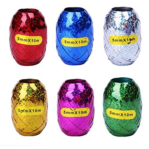 Xinqueen Paquete de 6 cintas de regalo de varios colores – 5 mm x 10 m metálico brillante globo cinta para envolver cuerda rizada para decoración de fiestas y bodas