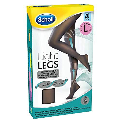 Scholl Light Legs Strumpfhose – Damen-Strumpfhose mit Kompressionsfunktion & Anti-Laufmaschen-Technologie in L – Transparente, schwarze Stützstrumpfhose – 1 Paar mit 20 DEN