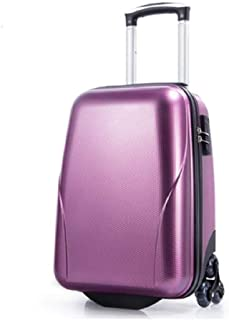 Portable Trolley Case PC Material Triangle Roller TSA Combination Lock Aluminum Pull Rod Personalized Luggage 22 Inch (Color : Purple)