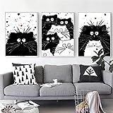 FA LEMON Schwarz Weiß Katze Tier Leinwand Malerei