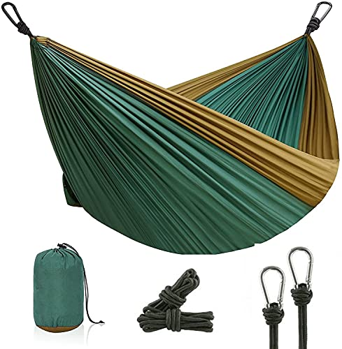 kartfury Ultra-Light Travel Camping Hammock   300kg Load Capacity Breathable,Quick-Drying Parachute Nylon   2 x Premium Carabiners,2 x Nylon Slings Included (275 x 140 cm, Red) (Dark Green)