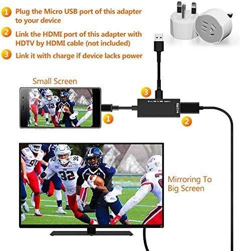 MHLHDMI変換アダプタMicroUSBtoHDMI接続アダプタテレビ変換ケーブル1080P対応高解像度映像出力AVアダプタ2020最新設定不要Android対応(3)