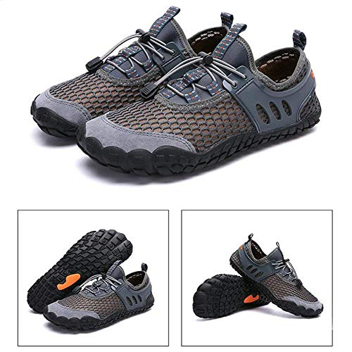 ACHICOO - Zapatillas deportivas elásticas transpirables para hombre, para deportes al aire libre, gris, 43