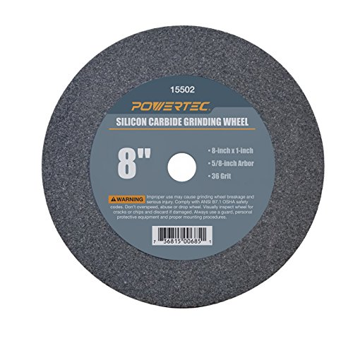 POWERTEC 15502 5/8' Arbor 36-Grit Silicon Carbide Grinding Wheel, 8' x 1'