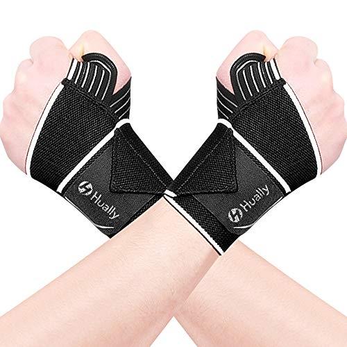 Hually Handgelenk Bandagen (2er Set) [Wrist Wraps] Handgelenkbandage für Fitness, Handgelenkstütze, Bodybuilding, Kraftsport & Crossfit, Wrist Sraps für Sport