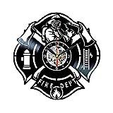 Reloj de pared de vinilo con logotipo de bomberos para hombres