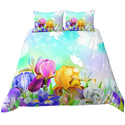 Stillshine. Girl Bedding Set Microfiber Plant Flowers Dragonfly Butterfly Printing Bedding Duvet Covers with Pillowcases (Colour 5,135 × 200 cm)