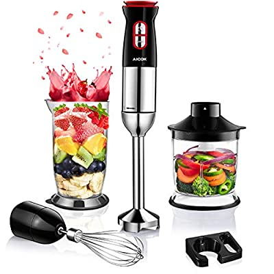 Immersion Blender, Aicok 5-in-1 Ultra-38000RPM ...