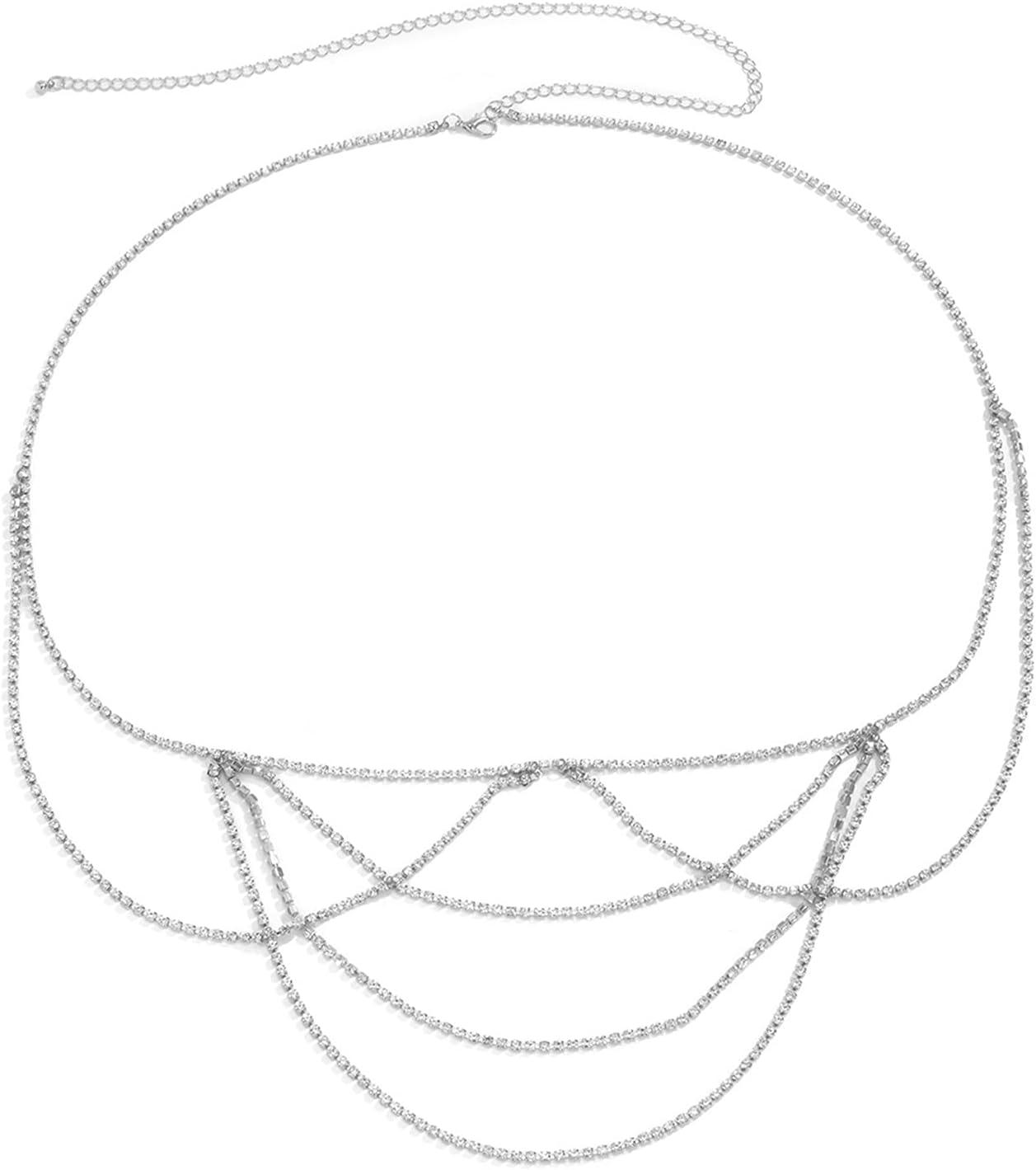 ZHU-CL Bikini Body Chain 5 ☆ San Antonio Mall popular Shining Woman Belly Rhin Chains U-Shape