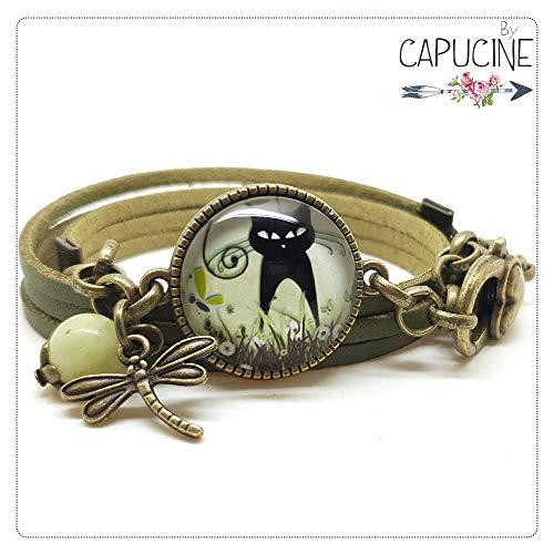 Bracelet 3 Tours Chat et Libellule Noir et Kaki avec Cabochon Verre, Breloque et Perle en Jade,...