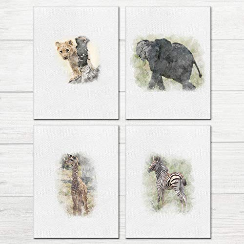 African Safari Animal Pictures Wall Art Prints & Posters | A4 Wall Art For Living Room, Nursery Decor & Bedroom Decor Prints For Walls | Watercolour Style | Set Of 4 | Lion, Elephant, Giraffe, Zebra