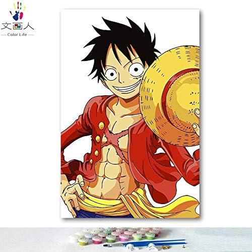 bajo precio KYKDY Dibujos para para para Colorar de DIY por números con Colors Anime One Piece Luffy Sauron Sanji foto dibujo pintura por números enmarcados Inicio, 8109,70x90 sin marco  online barato
