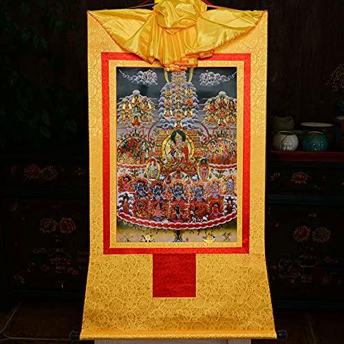 Gandhanra Tapiz budista tántrico tibetano para colgar en la pared, conversión de guru rinpoche, Lotus Born, estampado en caliente, para decoración del hogar Zen (amarillo, mediano (62 x 47 cm)