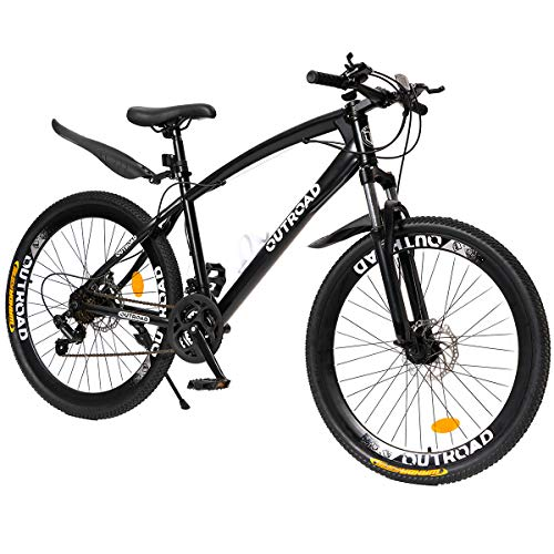 PanAme 26 Inch Mountain Bike,High Carbon Steel Frame Bike with 21 Speed Shimano Shifter and Double Disc Brake, Front Suspension Anti-Slip Bicycle for Adult, Black