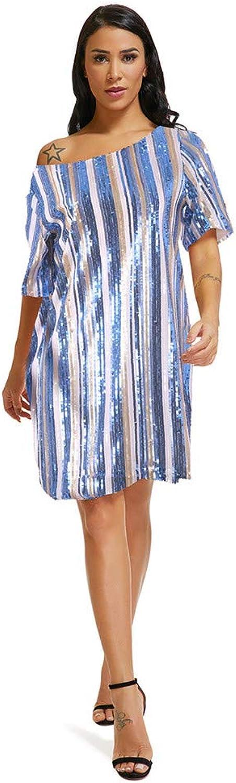 Women Short Sleeve Shiny Striped Sequin Loose Mini Dress Cold Shoulder Hip Dress Cocktail Evening Party Dress Nightwear Clubwear Dress (color   bluee, Size   XXL)