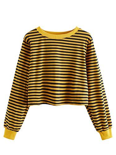 SweatyRocks Women's Casual Long Sleeve Striped T-Shirt Casual Crop Top Sweatshirt Yellow Black XL