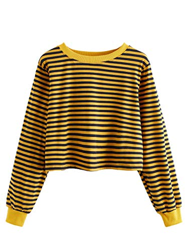 SweatyRocks Women's Casual Long Sleeve Striped T-Shirt Casual Crop Top Sweatshirt Yellow Black XL