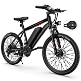 Electric Bike, TotGuard Electric Bike for Adults 26'' Ebike with 350W Motor, 19.8MPH Electric Mountain Bike with Lockable Suspension Fork, Removable 36V/10.4Ah Battery, Professional 21 Speed Gears