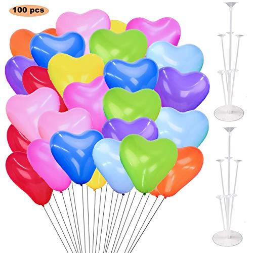 100 Piezas Globos de Corazon y 2 Piezas Soporte de Globos, Coloridos Globos de Pastel Látex para Bodas, Fiestas de Cumpleaños y Decoración