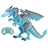 Liberty Imports Dino Planet Remote Control RC Walking Dinosaur Toy with Breathing Smoke, Shaking Head, Light Up Eyes and Sounds (Ice Dragon (with Smoke))