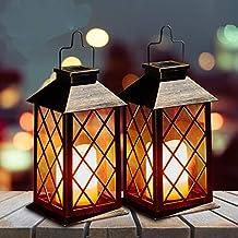 Solar lantaarns outdoor, OxyLED 2 Pack flikkerende zonne-tuin verlichting opknoping lantaarn IP44 waterdichte LED Solar De...