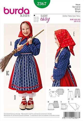 Burda 2367 Schnittmuster Kostüm Fasching Karneval Hexe (kids, Gr. 110 - 152) Level 1 super easy