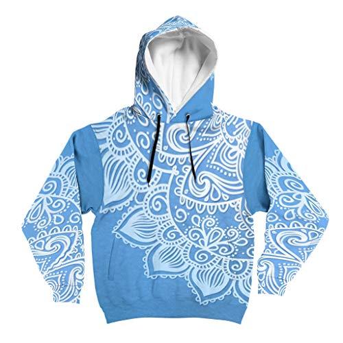 Lind88 Verloop blauw mandela Patroon Heren Hoody Tiener Student Casual - Mandela Art Hooded Gezellige Jas