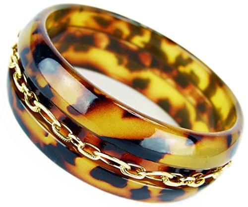 Trendit edler Damen Armreif Designer Armband Tiger Kunststoff mit Goldkette