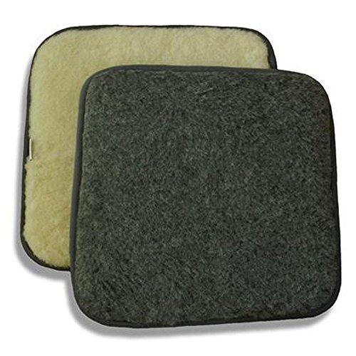 SamWo, Sitzkissen/Stuhlkissen aus 100% Merinowolle, pflegeleicht, waschbar bei 30 Grad, Grösse 40x40 cm, wollweiss/anthrazit, beidseitig verwendbar