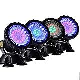 MSQL LED-Tauchleuchten, Aquariumleuchte mit Fernbedienung, RGB-Gartenteichleuchte, IP68-wasserdicht einstellbar, für Teichaquarien unter Wasser, 4er-Set