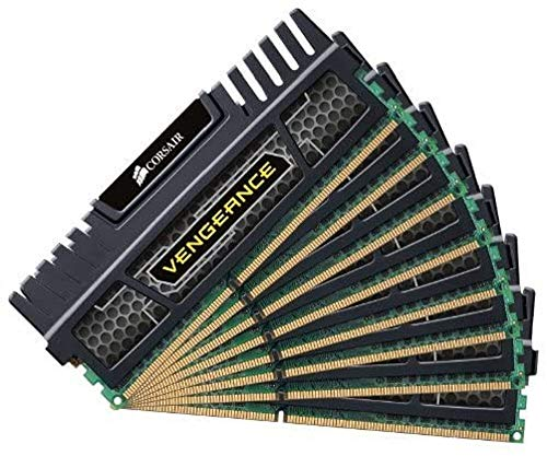 Corsair CMZ8GX3M4X1600C9 Vengeance Memoria per Desktop a Elevate Prestazioni da 8 GB (4x2 GB), DDR3, 1600 MHz, CL9, con Supporto XMP, Nero