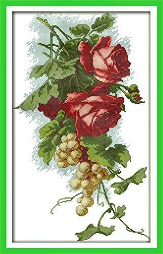 PJX Juego de agujas de tejer con diseño de uvas y rosas, color DMC, 18 quilates, 14 quilates, cruz femenina, juego de agujas de moda para manualidades, bordado, flores, jardín, paisaje, etc.