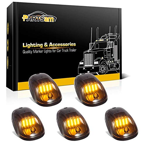 Partsam 5pcs Smoke Cab Light 16LED Amber Top Roof Running Cab Marker Lights Assembly Compatible with Dodge Ram 1500 2500 3500 4500 5500 2003-2018 Pickup Trucks