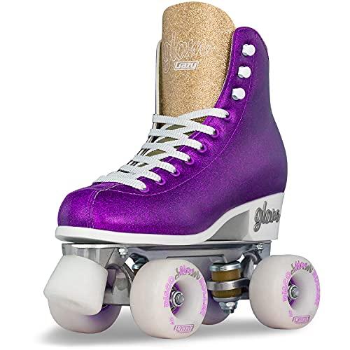 Crazy Skates Glam Roller Skates for Women and Girls - Dazzling Glitter Sparkle Quad Skates - Purple with Gold (Size 6)
