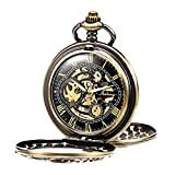 Treeweto Antique Dragon Mechanical Skeleton Bronze Pocket Watch with Chain