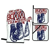 Gimnasio Guantes de Boxeo Vintage Deporte Entrenamiento Punch Fitness Boxer,Juegos de Manoplas para Horno y Porta Ollas,4Pcs Impermeable Guantes Almohadillas para Cocina Cocinar Hornear Barbacoa