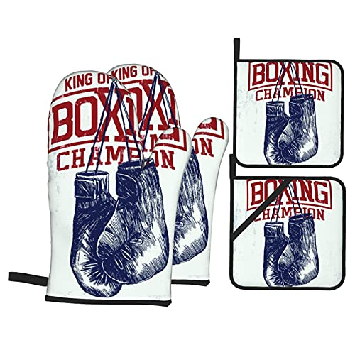 Marutuki Gym Vintage Boxing Gloves Sport Training Punch Fitness Boxer,Oven Mitts and Pot Holders Sets,4pcs Heat Resistance Waterproof Gloves Pads for Kitchen Cooking Baking BBQ