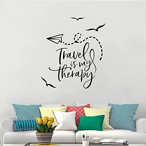 Calcomanía de pared con citas de viaje, pegatina de pared de avión de pájaro de aventura, vinilo, mural de pared de viaje, papel tapiz de vinilo A8 42x46cm