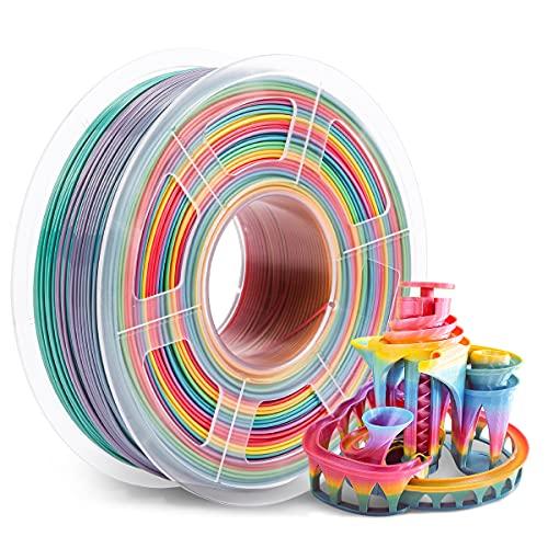 Rainbow PLA Filament 1.75mm, SUNLU PLA 3D Printer Filament Multicolor, Dimensional Accuracy +/- 0.02mm, 1kg Spool(2.2lbs), 1.75 PLA Rainbow