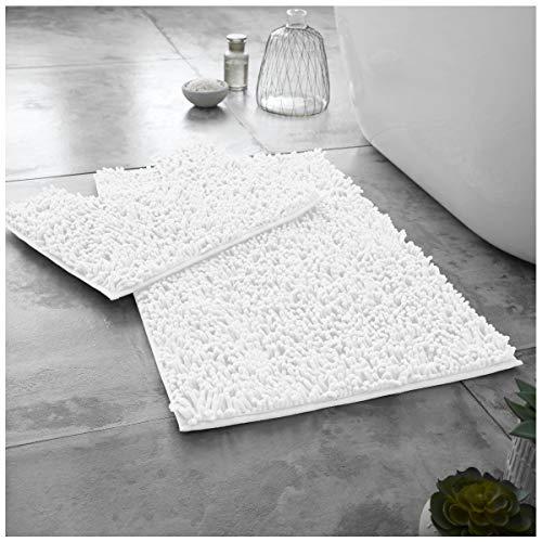 Gaveno Cavailia Loop Bath Luxuriöses 2-teiliges Badvorleger-Set, rutschfest, extra saugfähig, 100{ab54b43c2b25316fb94c3126bcd17f7a71a60bf276f399f8d7aca91fc9937c2a} Mikrofaser-Chenille, Badezimmer-WC-Vorleger, reguläre Passform (50 x 80, 50 x 40 cm), Weiß