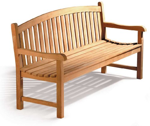 Gloucester Teak Curved Back 3 Seater Garden Bench - 5ft Garden Bench - Jati...