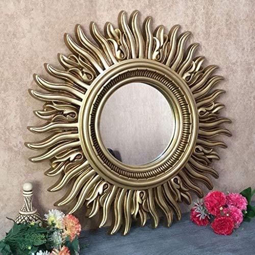 UP6Per Espejo Colgante de la Pared Solar de 24 Pulgadas, Espejo Decorativo de la Pared de Resina Americana, Espejo de baño, Sala de Estar Creativa Fondo de Pared decoración de Pared (Color : B)