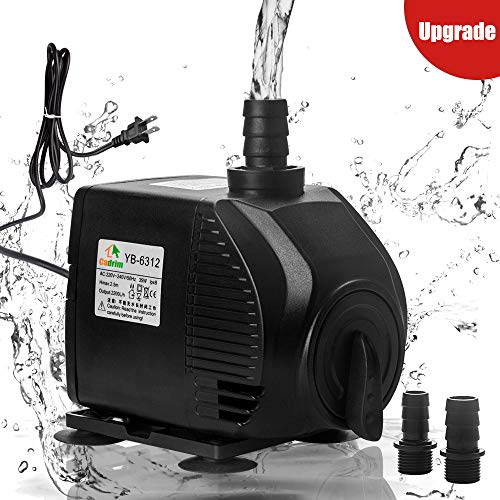 Cadrim Fountain Pump - Submersible Pump 580 GPH 35W Aquarium Water Pumps with 2 Nozzles for Fish Tank Pond Statuary Hydroponics
