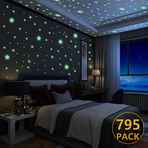 Yosemy Luminoso Pegatinas de Pared Estrellas Fluorescente Pegatinas de