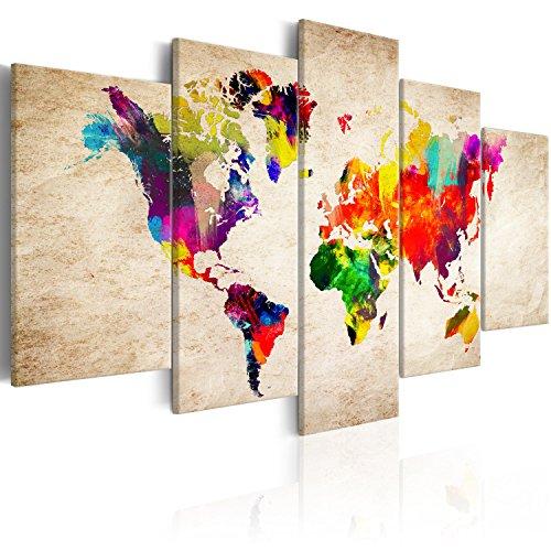 murando Cuadro en Lienzo Mapamundi 200x100 cm Impresión de 5 Piezas Material Tejido no Tejido Impresión Artística Imagen Gráfica Decoracion de Pared Mapamundi Continente k-C-0083-b-m