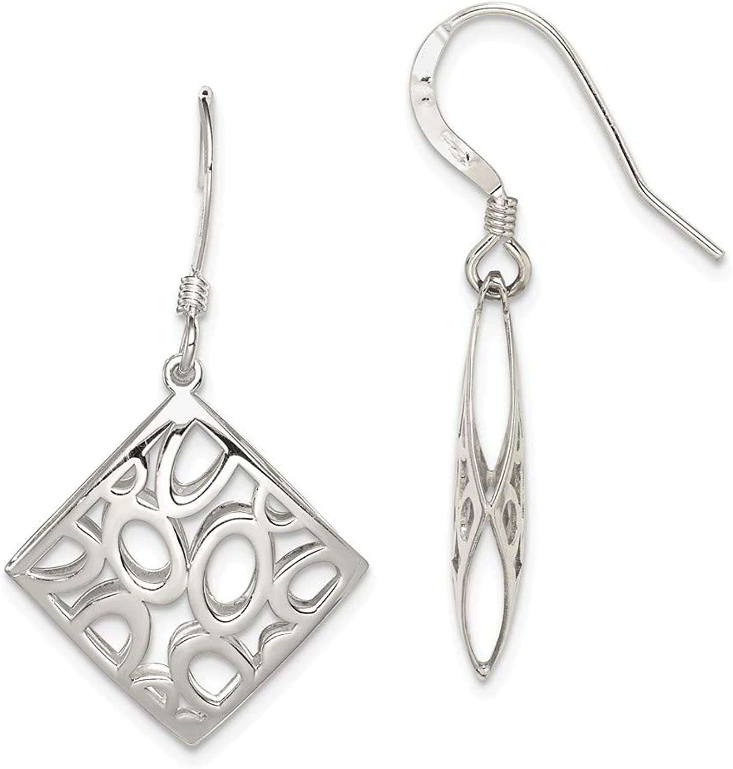 Beautiful Sterling silver 925 sterling Sterling Silver Polished Square with Circles Dangle Earrings