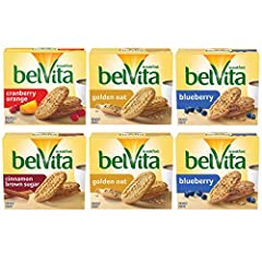 Six boxes with 5 packs each (4 biscuits per pack), 30 total packs, of belVita Breakfast Biscuits, including 2 Blueberry, 2 Golden Oat, 1 Cranberry Orange and 1 Cinnamon Brown Sugar Specially baked to release up to 4 hours of nutritious steady energy ...