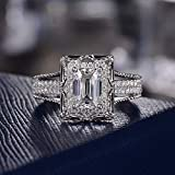 Rnydrny Sterling Silver Princess Cut Square Shaped Cubic Zirconia Bridal Ring Engagement Wedding Ring Bands Solitaire Engagement Band Rings for Women Halo Promise (6)